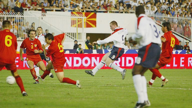 Rooney scores his first England goal against Macedonia in September 2003