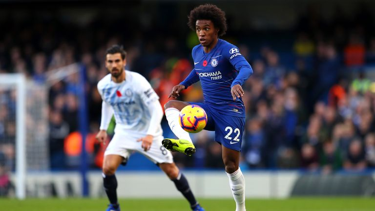 Willian during the Premier League match against Everton