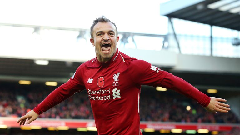 Xherdan Shaqiri celebrates his goal