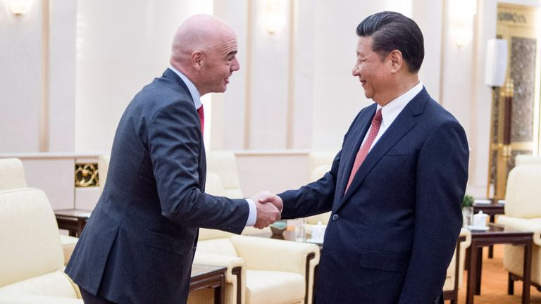 China's President Xi Jinping meets FIFA President Gianni Infantino at the Great Hall of the People in Beijing in 2017