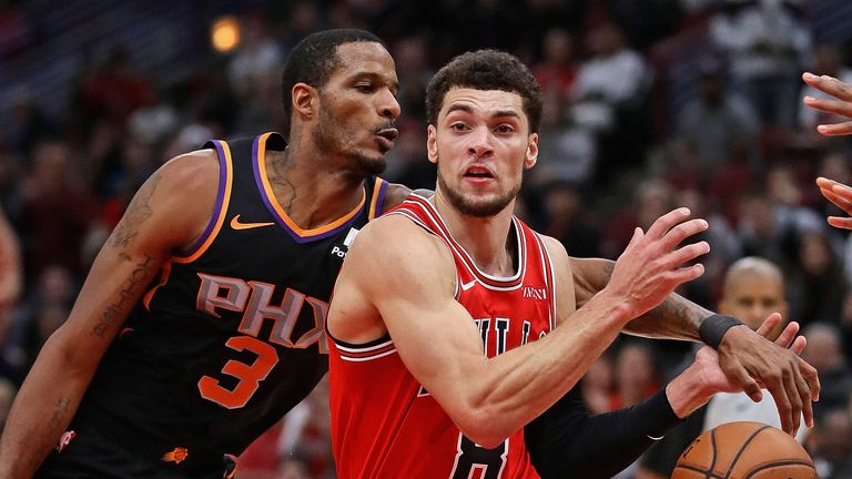 Trevor Ariza #3 of the Phoenix Suns knocks the ball away from Zach LaVine #8 of the Chicago Bulls at the United Center on November 21, 2018 in Chicago, Illinois. The Bulls defeated the Suns 124-116.