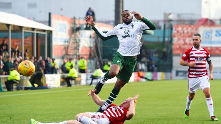 Hamilton's Ziggy Gordon slides in on Celtic midfielder Olivier Ntcham