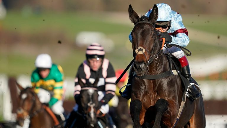 Richard Johnson riding Lalor clear the last to win The Racing Post Arkle Trophy Trial Novices' Chase at Cheltenham