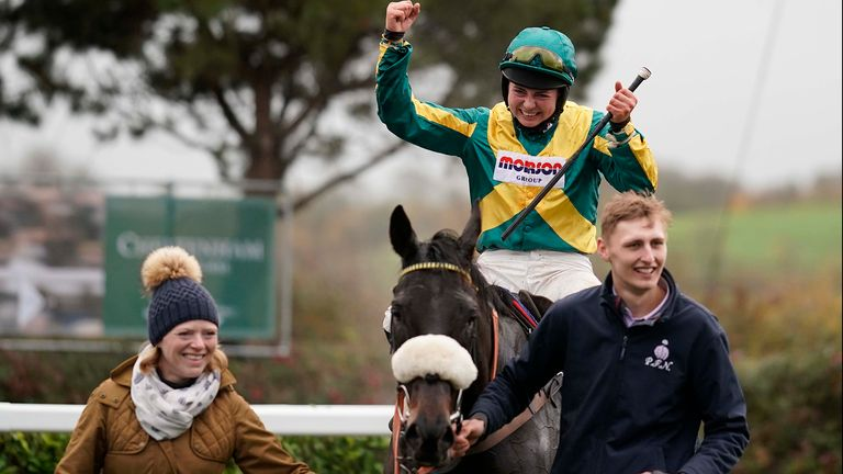 Bryony Frost celebrates after riding Present Man to win the Badger Ales Trophy Handicap Chase at Wincanton