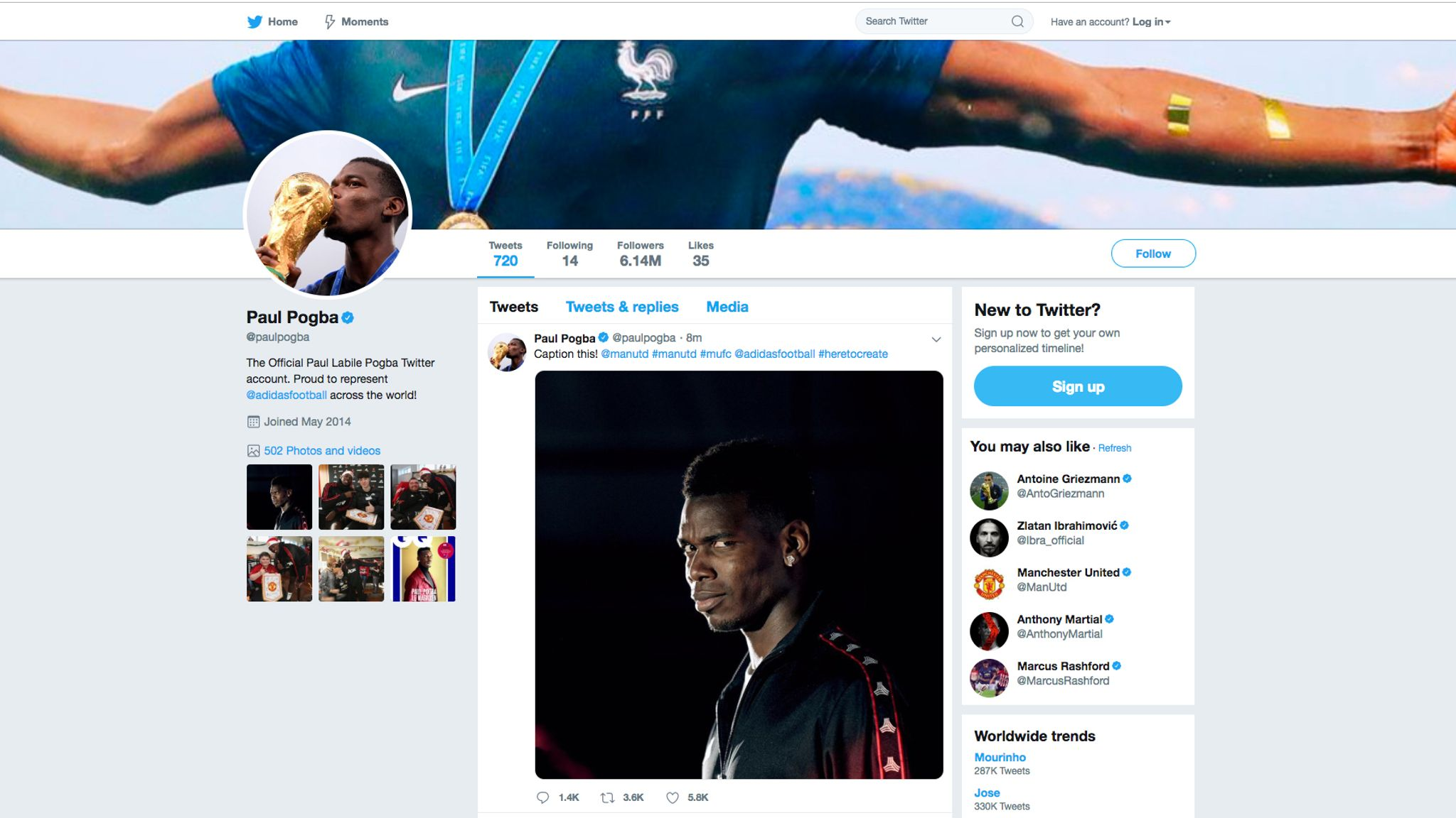 1b505a6ef647 Paul Pogba deletes cryptic tweet following Jose Mourinho sacking as Man Utd  boss | Football News | Sky Sports