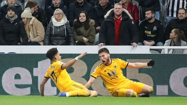 Matt Doherty (R) celebrates scoring Wolves' winner