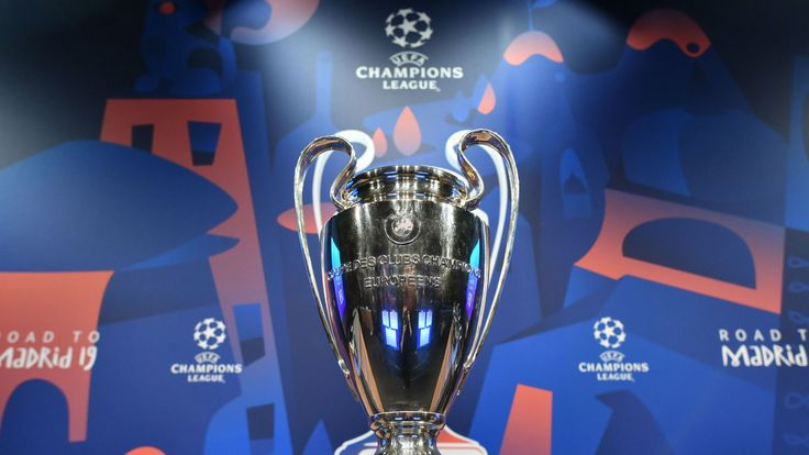 The UEFA Champions League football cup is displayed prior to the draw for the round of 16 of the UEFA Champions League football tournament at the UEFA headquarters in Nyon on December 17, 2018