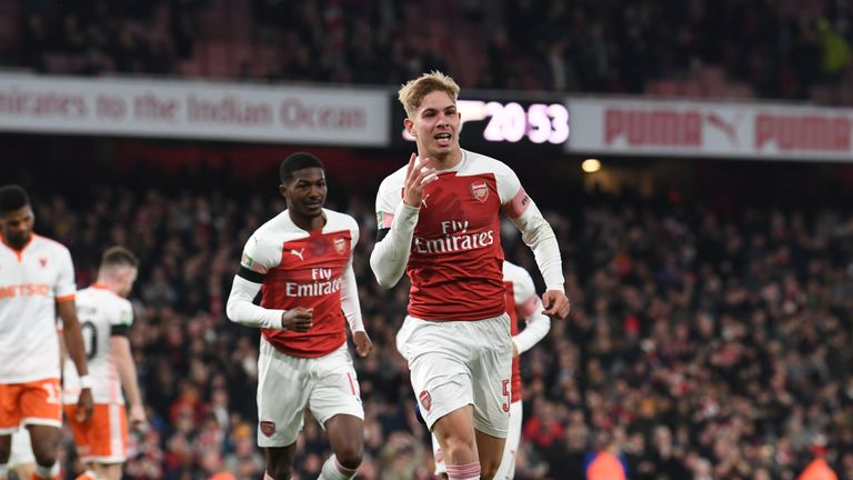 Smith Rowe celebrates his first senior goal at the Emirates Stadium