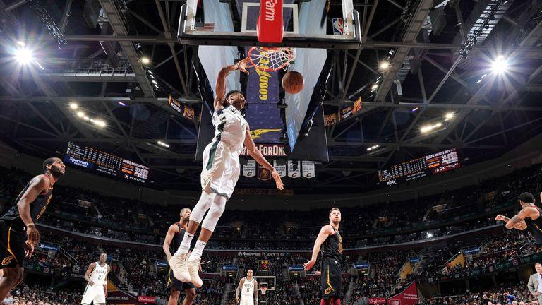 Giannis Antetokounmpo throws down a dunk