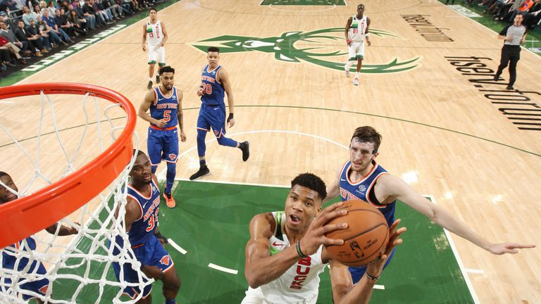 Giannis Antetokoumpo rose to make an easy lay-up against New York