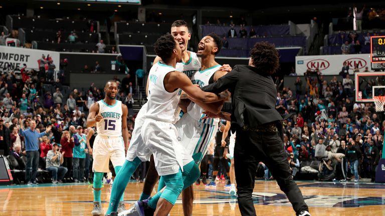 Jeremy Lamb celebrates after hitting the game-winning shot