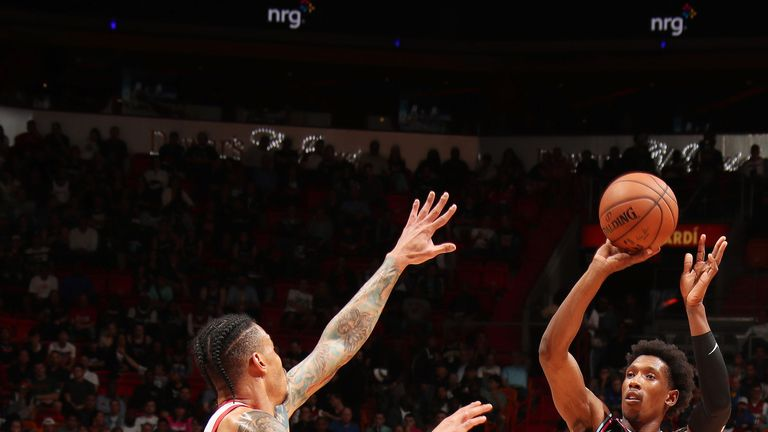 Josh Richardson fires a jumper against the Houston Rockets