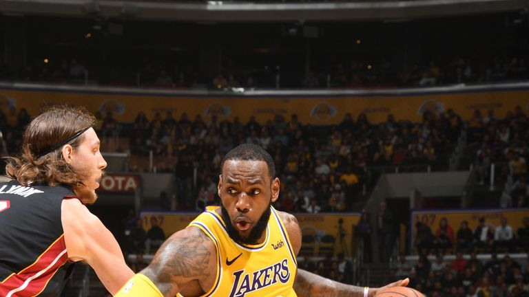 c3474a3fef04 LeBron James wins last duel with Dwyane Wade as Los Angeles Lakers edge Miami  Heat