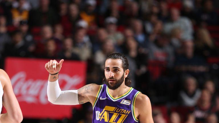 Ricky Rubio initiates the Jazz offense against Portland