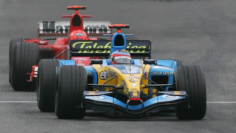 Schumacher started 13th  after a qualy mistake but muscled his way through the field, and for 12 gripping laps he hounded the race-leading Alonso without mercy. Alonso resiliently held the German back, but they crossed the line just 0.2s apart.