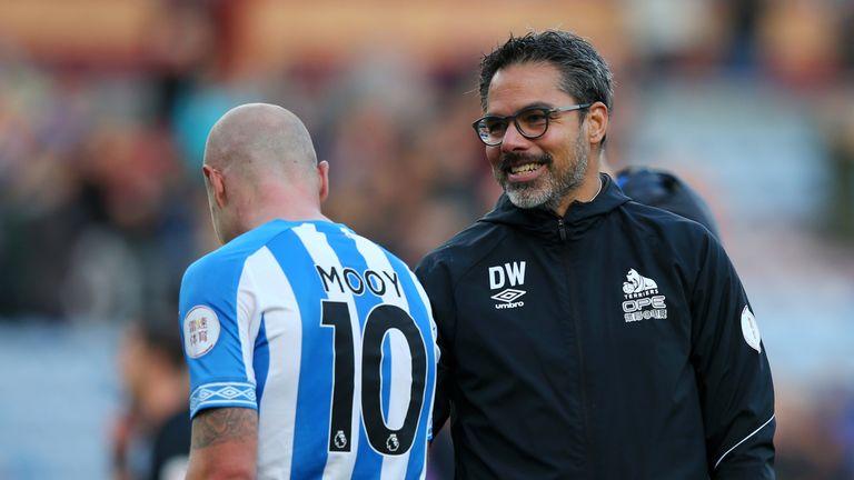 Aaron Mooy with Huddersfield boss David Wagner