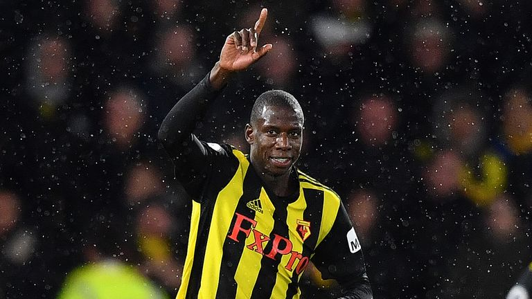 Abdoulaye Doucoure celebrates after pulling a goal back for Watford