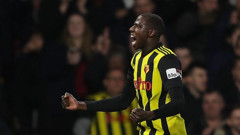 Abdoulaye Doucoure celebrates Watford's equaliser