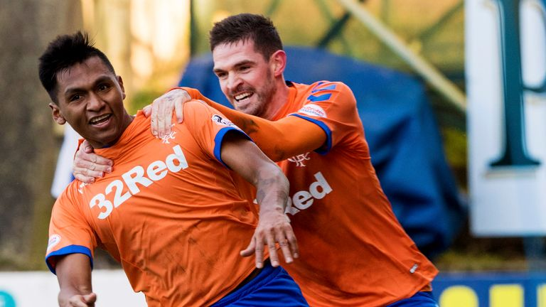 Rangers' Alfredo Morelos celebrates after scoring the winning goal with Kyle Lafferty
