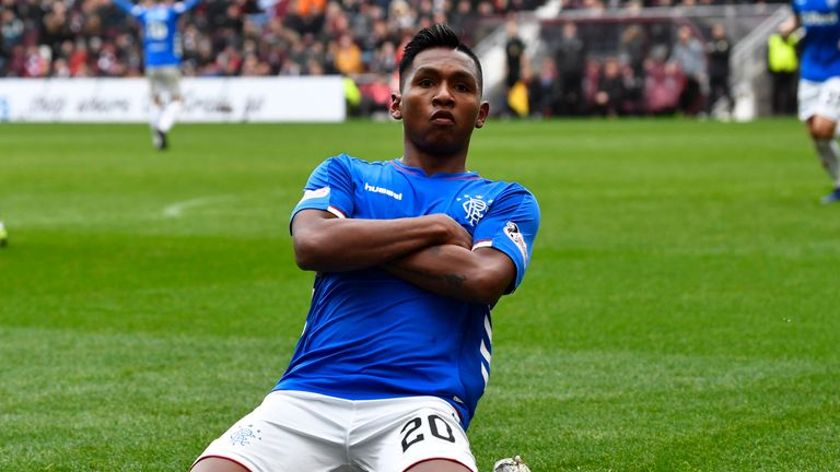 Alfredo Morelos scored in his seventh successive Premiership match
