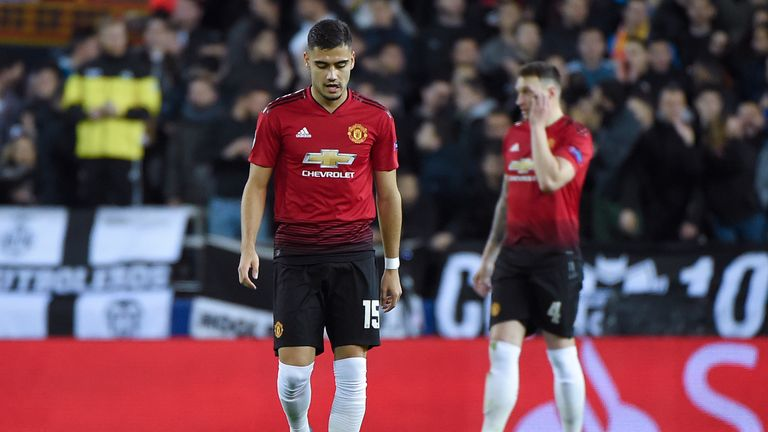 Manchester United's Belgian-born Brazilian midfielder Andreas Pereira reacts after Valencia scored a goal during the UEFA Champions League group H football match between Valencia CF and Manchester United at the Mestalla stadium in Valencia on December 12, 2018