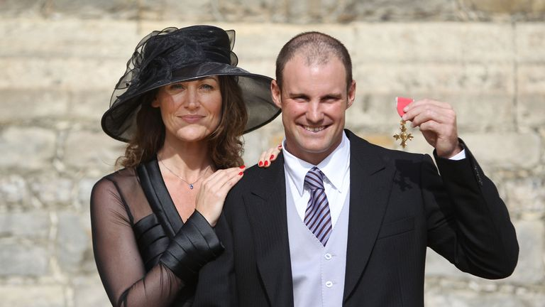 Andrew Strauss with his wife Ruth after he received his OBE in 2011