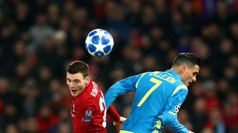 Andy Robertson and Jose Callejon battle for the ball in Liverpool's Champions League clash with Napoli at Anfield