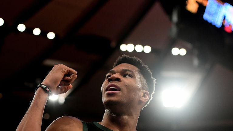 Giannis Antetokounmpo reacts during the overtime defeat to the New York Knicks