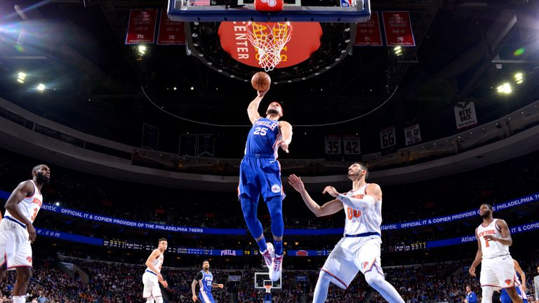 Ben Simmons of the Philadelphia 76ers shoots the ball against the New York Knicks