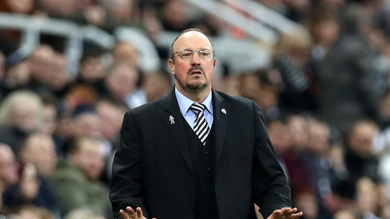 Rafael Benitez looks on during the Premier League match between Newcastle United and Fulham.
