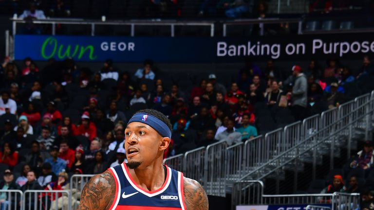 Bradley Beal #3 of the Washington Wizards handles the ball against the Atlanta Hawks on December 5, 2018 at State Farm Arena in Atlanta, Georgia