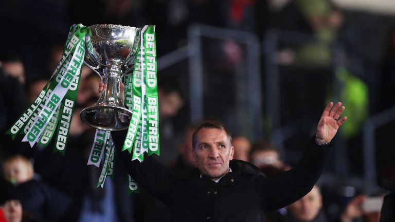 Brendan Rodgers lifts the Scottish League Cup after Celtic's 1-0 defeat of Aberdeen