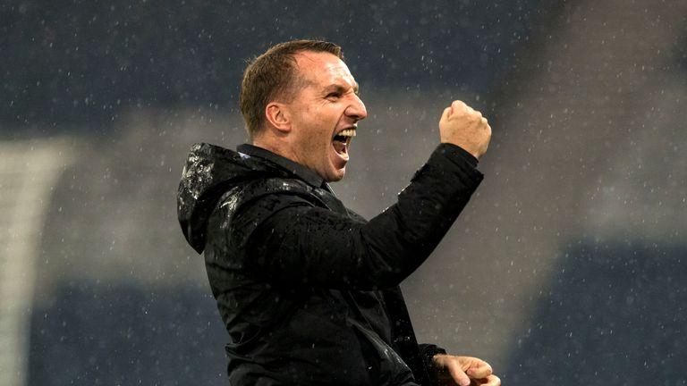 Brendan Rodgers celebrates Celtic's League Cup success