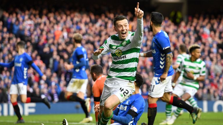 Callum McGregor turns away to celebrate his goal for Celtic, but it's ruled out for offside