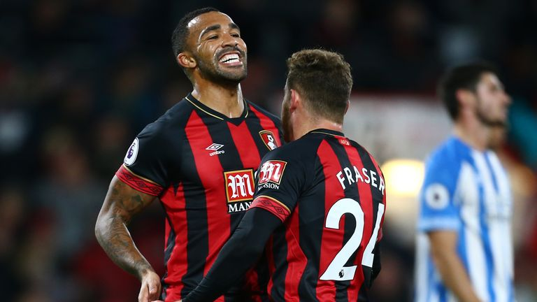 Callum Wilson celebrates with goalscorer Ryan Fraser