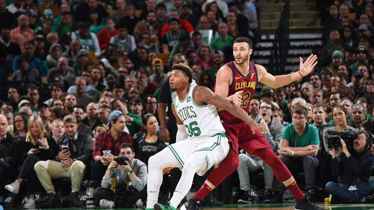 BOSTON, MA - NOVEMBER 30:  Marcus Smart #36 of the Boston Celtics boxes out against Larry Nance Jr. #22 of the Cleveland Cavaliers on November 30, 2018 at the TD Garden in Boston, Massachusetts.  NOTE TO USER: User expressly acknowledges and agrees that, by downloading and or using this photograph, User is consenting to the terms and conditions of the Getty Images License Agreement. Mandatory Copyright Notice: Copyright 2018 NBAE  (Photo by Brian Babineau/NBAE via Getty Images)