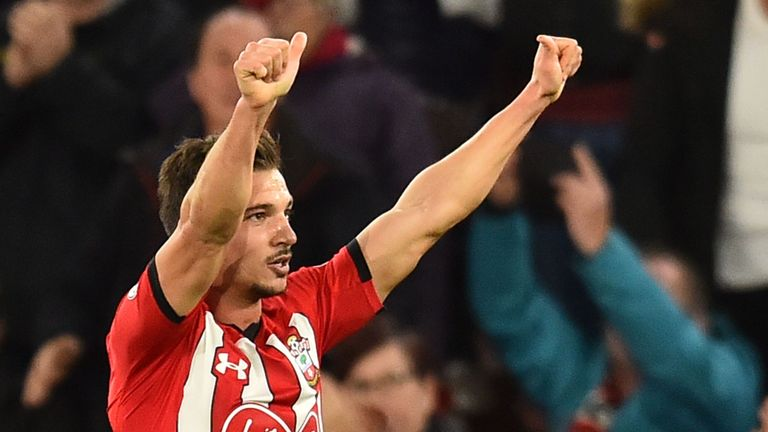 Cedric Soares celebrates during the Premier League match between Southampton FC and Manchester United.
