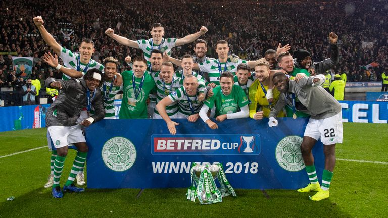 Celtic celebrate their League Cup final victory over Aberdeen