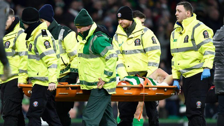 Celtic's Ryan Christie is stretchered off against RB Salzburg