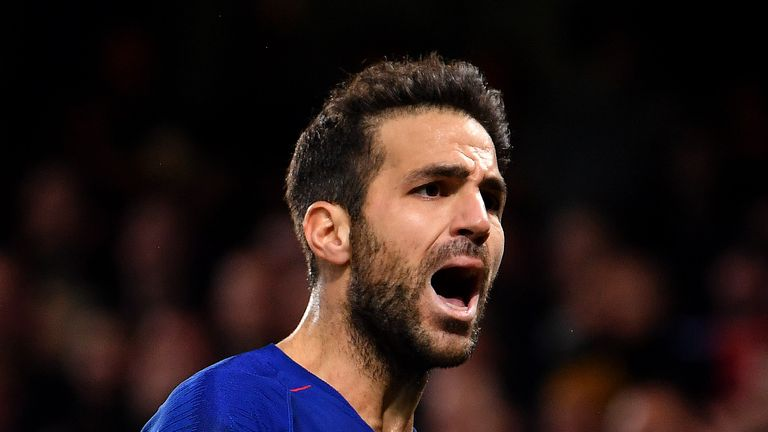 Cesc Fabregas during the Carabao Cup Fourth Round match between Chelsea and Derby County at Stamford Bridge on October 31, 2018 in London, England.