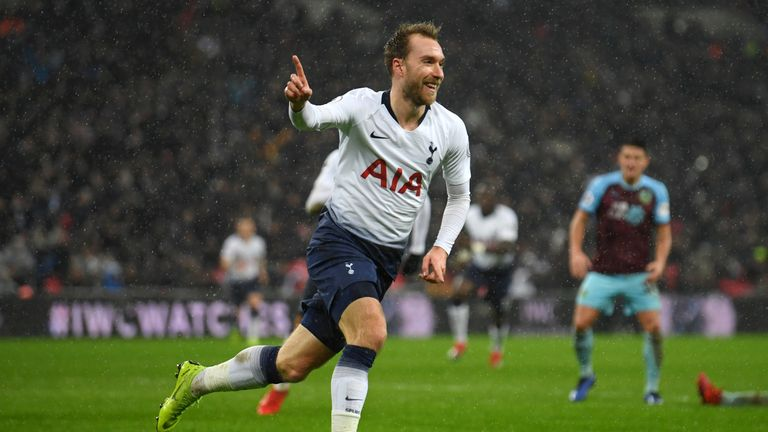 Christian Eriksen celebrates scoring the only goal of the game