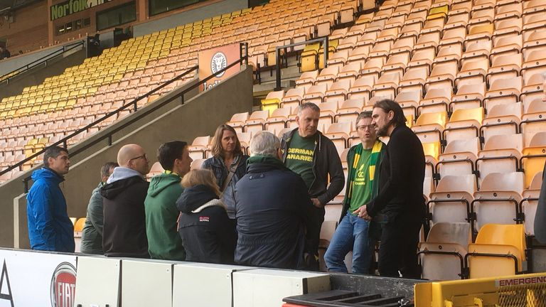 Farke engaging with the German Canaries supporter group last season