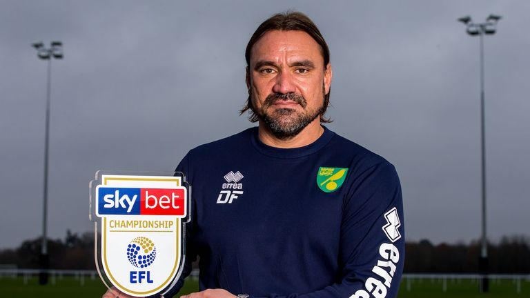 Daniel Farke of Norwich City wins the Sky Bet Championship Manager of the Month award - Mandatory by-line: Robbie Stephenson/JMP - 05/12/2018 - FOOTBALL - Norwich City Training Ground - Norwich, England - Sky Bet Manager of the Month Award