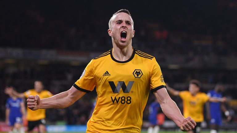 Diogo Jota celebrates after Wolves take the lead against Chelsea