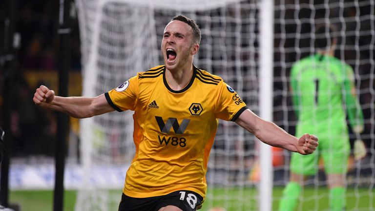 Diogo Jota celebrates after giving the Wolves the lead