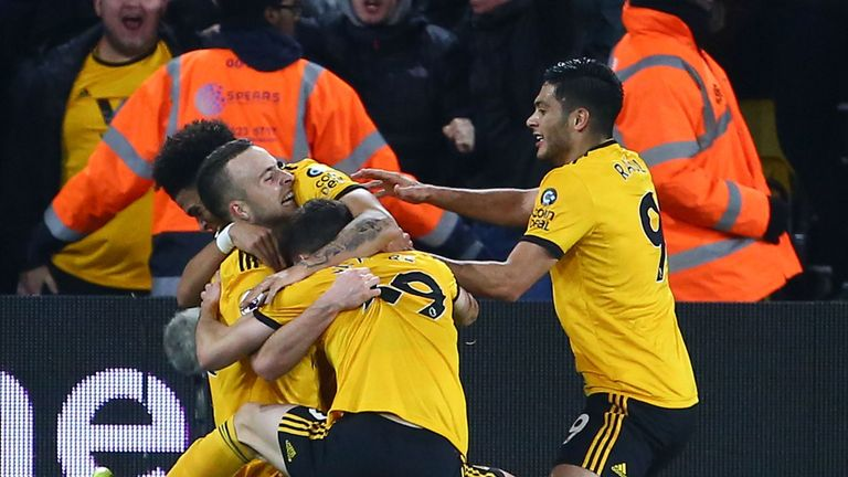 Diogo Jota celebrates his goal with team-mates