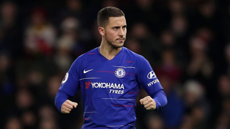 Eden Hazard of Chelsea celebrates after scoring his team's second goal from the penalty spot during the Premier League match between Watford FC and Chelsea FC at Vicarage Road on December 26, 2018 in Watford, United Kingdom.