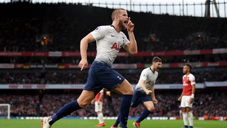 Eric Dier celebrates after equalising