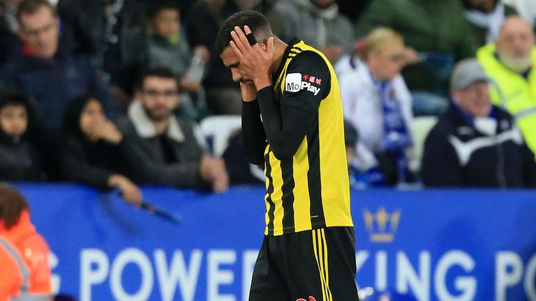 Watford's French midfielder Etienne Capoue reacts after being sent off during the English Premier League football match between Leicester City and Watford at King Power Stadium in Leicester, central England on December 1, 2018.