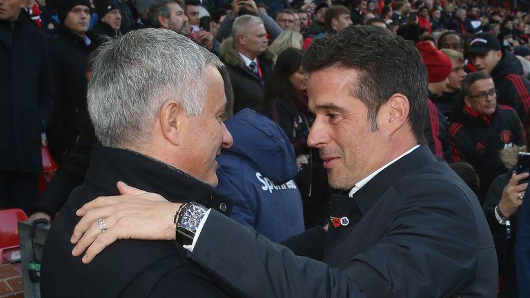 Jose Mourinho greets Marco Silva